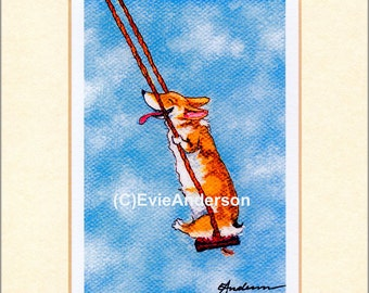"""Evie Anderson Welsh Corgi Art SIGNED PRINT """"Swoosh!""""  (quality, signed, matted) Pembroke Dogs"""