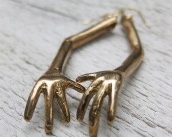 surreal toy jewelry weird ARM solid bronze and gold filled earrings