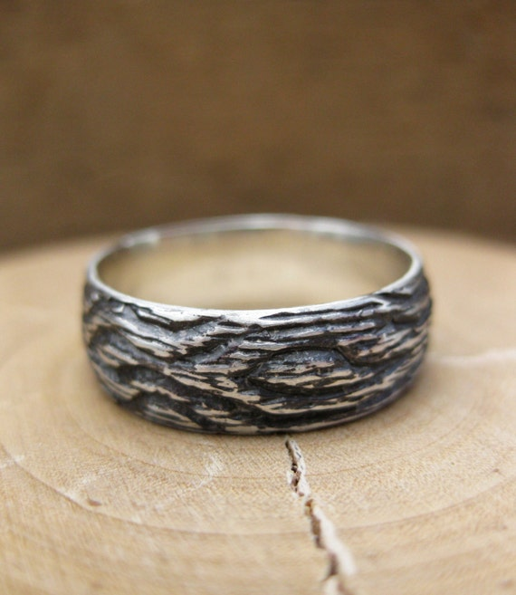 Mens woodgrain wedding ring OAK sterling silver Made To Order size