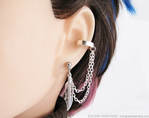 Silver Feather Double Chain Connected Cartilage Ear Cuff Bajoran Earring