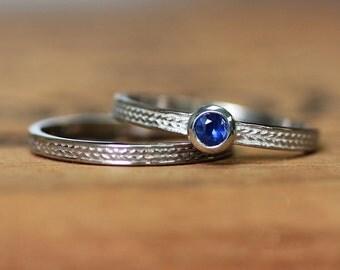 Sapphire wedding set, sapphire engagement ring vintage, sapphire ring white gold, sapphire promise ring for her, saphire engagement ring