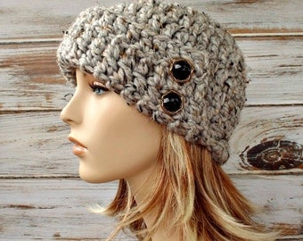 Crochet Hat Womens Hat 1920s Flapper Hat - Garbo Cloche Hat Tweed Grey Crochet Hat - Grey Hat Grey Beanie Grey Cloche Womens Accessories