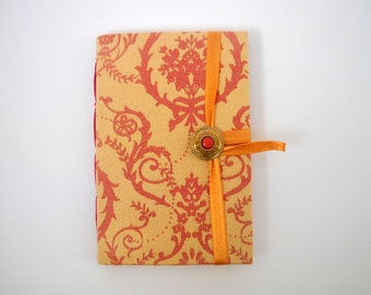 Handmade lined journal notebook for writing, Gold Red damask print, Bridal wedding journal diary, Red Brass button gold ribbon closure
