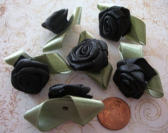 Large BLACK Ribbon ROSES lot of 6