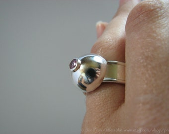 pink tourmaline stone ring - size 7 and a half ring - october birthstone - pink statement ring - handfabricated ring - boob ring - dome ring