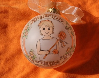 Our Little Flower Girl Original Handpainted Personalized Ornament, WITH DISPLAY STAND