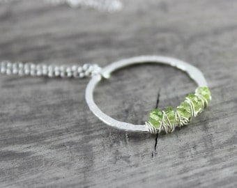 Peridot Gemstone Necklace, Sterling Silver Necklace, Wire Wrap Pendant Necklace, Circle Necklace, Light Green Necklace, August Birthstone