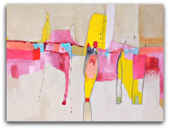 "VERY Large Abstract Painting,Colorful Abstract Wall Art, Collage Art, Original Painting by Christina Romeo ""Clarity"""