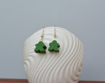 Green mini Carcassonne meeple earrings with nickel-free silverplated earwires