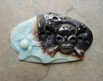 HALLOWEEN - Amazonite Carved Spider & Skull Pendant Bead- XL 49x80x6 mm - Focal Bead