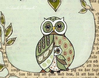 Under my wing -  mother and child - Owl nursery art , home decor , children family owls in green