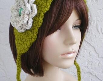hand crochet Headband Headwrap Earwarmer ear warmer women headband hair womens accessories  ~ annies chunky  head wrap ~ green