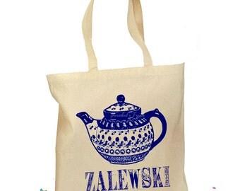 Polish Pottery Tote Vintage Boleslawiec Canvas Tea Pot Bag Personalized 2 Sizes Blue Natural
