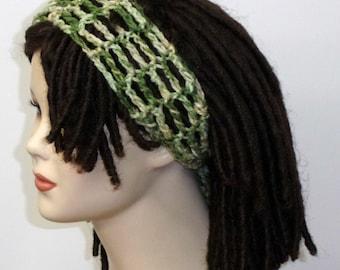 Crochet head band, Green tones Dread headband dreadband head hair band wrap scarf hippie bandana