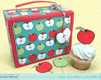 retro lunchbox -  cupcake box, teacher appreciation, back to school, party favor printable,  PDF kit - INSTANT download