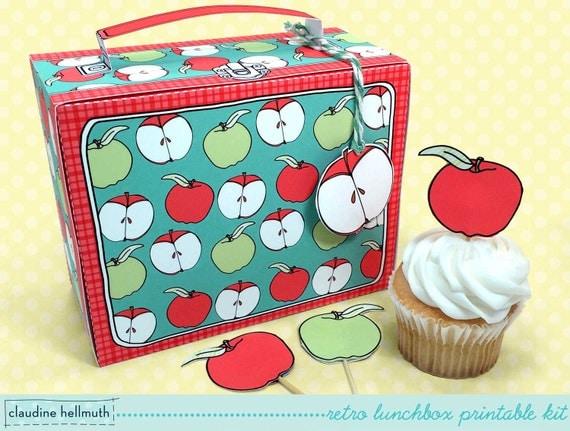 retro lunchbox -  cupcake box, teacher appreciation, back to school, party favor printable,  PDF kit - INSTANT download