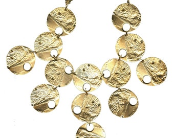 Large Gold Reticulated Disc Bib Necklace