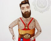 Tattooed Bearded Man Paper Doll Puppet - Don Xabier, Pro Wrestler illustration cut-out of tattoo circus human figure. Unique paper art.