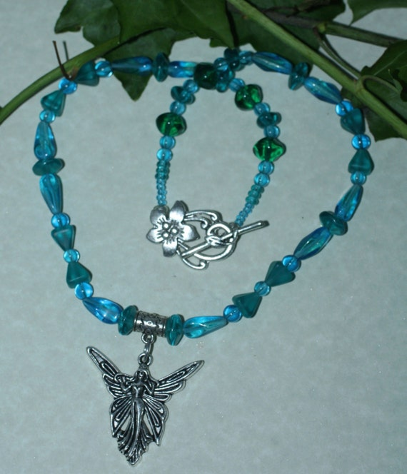 Fairy and Vintage Turquoise Glass Necklace - Magic, Fantasy, Wicca, Witchcraft
