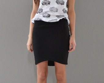 Black mini skirt with curved hem.  Pencil skirt.  Bodycon skirt.  French terry.  xs, s, m, l