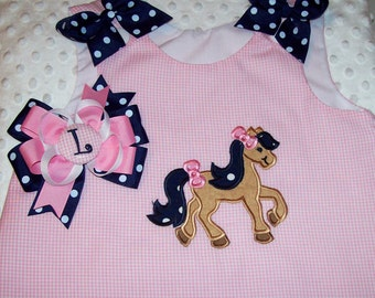Horse Pony Applique Pink Gingham Monogram A-line Dress with Navy Dot Ruffle and Bows