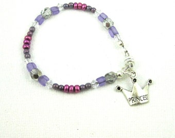 Teen Girl Jewelry, Princess Bracelet, Kids Jewelry, Tween Bracelet, Princess Jewelry, Princess Charm Bracelet, Girls Bracelet, Purple