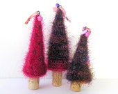 Knit Christmas Tree Ornament with Wine Cork Base - Pick Your Set of 3 Trees