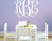 Monogram Wall Decal - Fancy Initials Wall Decal - Large Personalized Wall Decal - Monogram Wall Decal - Kid Decal - Baby Name Decal - ND19