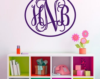 Monogram Initials Wall Decal - Fancy Wall Decal - Large Personalized Wall Decal - Monogram Wall Decal - Child's Initials Decal - WD1007