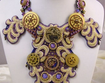 Purple Collar Necklace - Purple Steampunk Bib Necklace - Steampunk Collar Necklace - Old London Necklace - Brass Victorian Necklace
