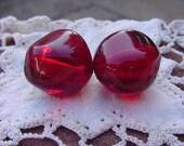 Garnet Red Boulders XLG Vintage Lucite Beads