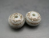 Naos Glass Rustic Blue Mints Pair Made To Order Artisan Glass Beads Handmade Lampwork Beads SRA Airy Blue Baby Blue