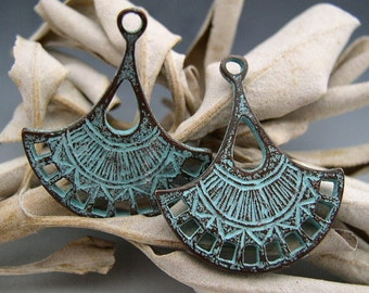 Naos - Lotus Blossom Double-Sided Charms - Mykonos Greek Copper Antiqued Green Turquoise