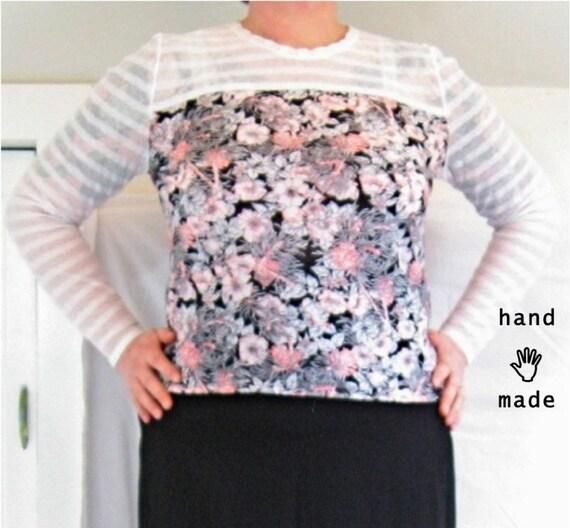 Breathe Top - plus size top, long sleeve, size 18 / size 20, cotton shirt, mesh striped floral vintage fabrics -- 47B-43W-47H