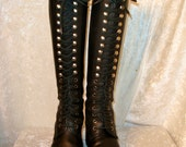 1990 vtg sz 36 US 6 black leather lace up boots  // tall shaft grunge rock star rocker knee high boots steampunk goth // fauxyfurr vintage