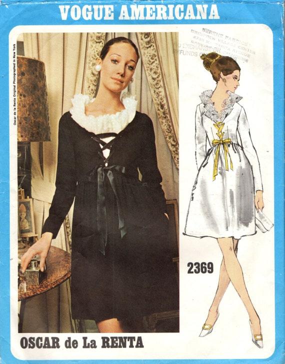 Vogue 2369  Vogue Americana OSCAR de La RENTA - High Fitted Bodice with Ribbon Laced V Neckline 1970