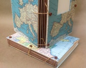 Large Expandable Travel Journal  - Custom Map with pockets and envelopes - Personalized - MADE TO ORDER - Paper Anniversary Gift