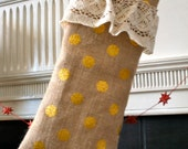 Burlap and Lace Gold Dot Stocking   Reversible Pattern