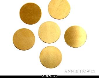 Circle Brass Blanks. 3/4 Inch Circle Shape. 24ga Solid Brass. 5 Pack. MET-400.25