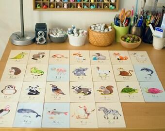 Set of 26 prints, 4x6 inches, Nursery art, alphabet prints, Animal alphabet print set, Watercolor painting