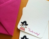 LIMITED Thanks Matey, pirate girl thank you cards, set of 8