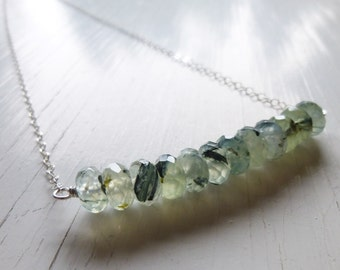Prehnite Rondelle Necklace,Green Gemstone Bar Sterling Silver  Row Necklace,  Faceted Pale Green Gemstone,Green Black Prehnite, Gift Box
