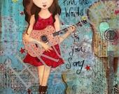 Tween Girls Art,Inspirational Print, Music Art, Guitar Art,Mixed Media, Musician Gift, Country Music Decor - Print Size 8 x 10