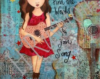 Tween Girls Art,Inspirational Print, Music Art, Guitar Art,Mixed Media, Musician Gift, Country Music Decor - Print Size 8 x 10 or 5x7