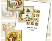 """Classic Fairy Tales 1"""" square inchies digital collage sheet Red Riding Hood Cinderella etc"""