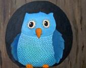 Original Acrylic Painting  - Celeste, original owl painting, aqua blue owl painting, owl nursery art, cute baby owl art painting