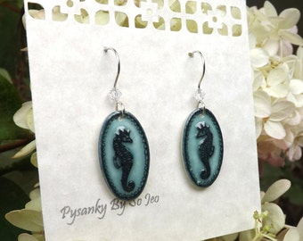 Seahorses : Under The Sea Series Acid Etched Emu Eggshell Earrings Pysanky By So Jeo