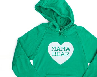 Mama Bear with Heart Cotton Kelly Green Hoodie Sweatshirt with White print