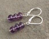 Amethyst Sterling Silver Earrings, February Birthstone Jewelry, Purple Drop Earrings