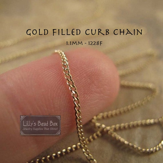 Gold Curb Chain, 3 Feet Gold of Filled Chain, 1.1mm, Chain for Jewelry Making, Supplies (1228f)